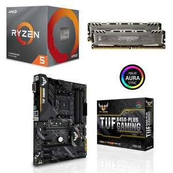 Processeur AMD Ryzen 5 3600 Wraith Stealth Edition - 3,6/4,2 GHz + Carte mère Asus TUF B450-Plus Gaming + Kit mémoire RAM Crucial - 2 x 8 Go