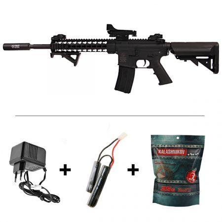 Pack Airsoft: Fusil Colt M4 Special Forces AEG Noir (180861) + Red dot + Silencieux + Poignée Angulaire + Sachet 4000 Billes 0.25g