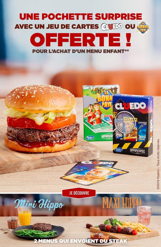 1 jeu de cartes La Bonne Paye ou Cluedo offert pour un menu enfant acheté