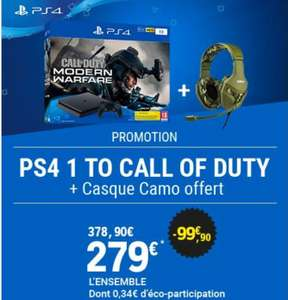 Pack Console Sony PS4 Slim - 1 To + Call of Duty Modern Warfare + Casque Konix PS-400 Camo offert