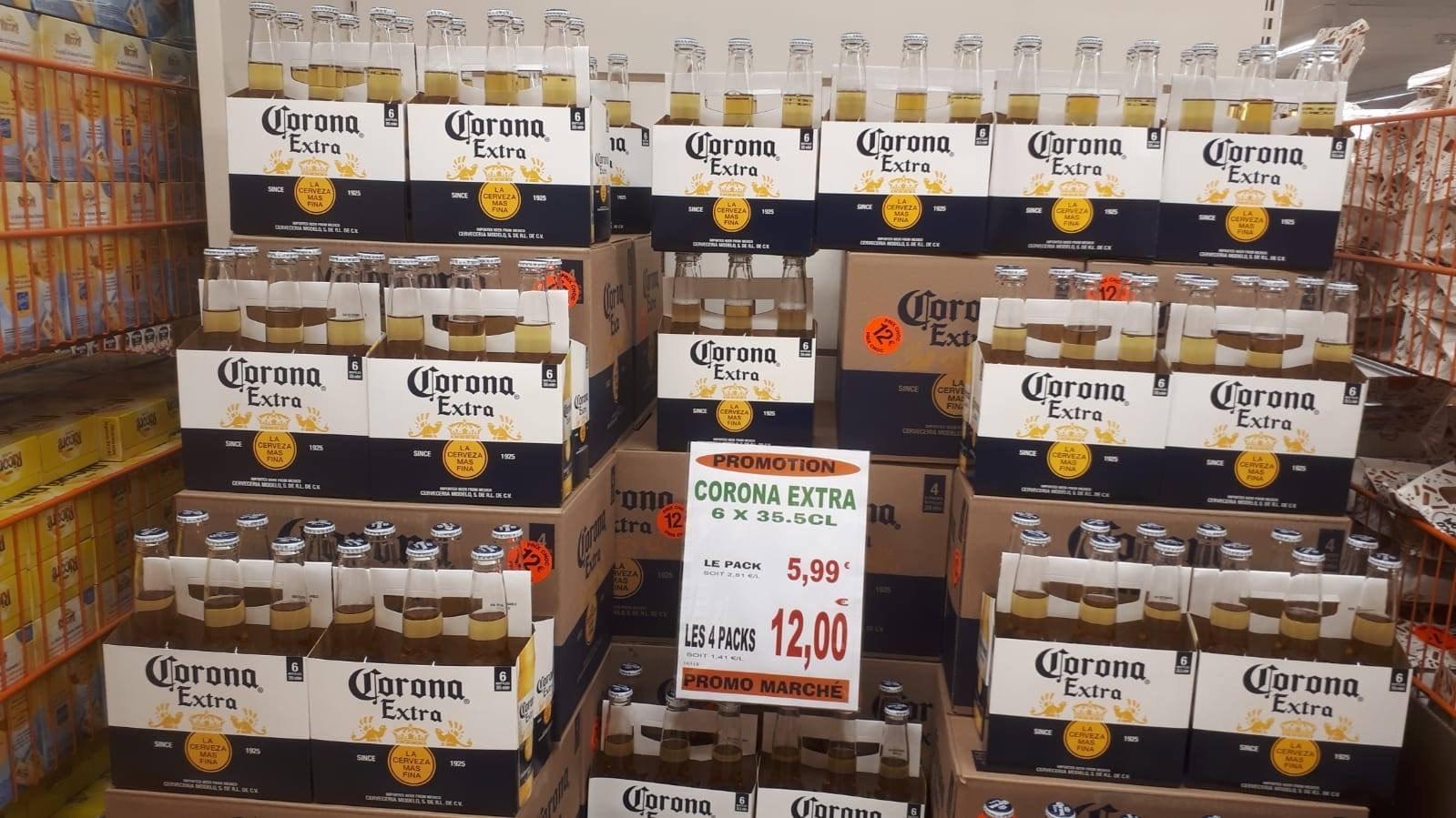 Pack de 24 Bières Corona Extra, 24x 35Cl - Promomarché de Bétheny Reims (51)