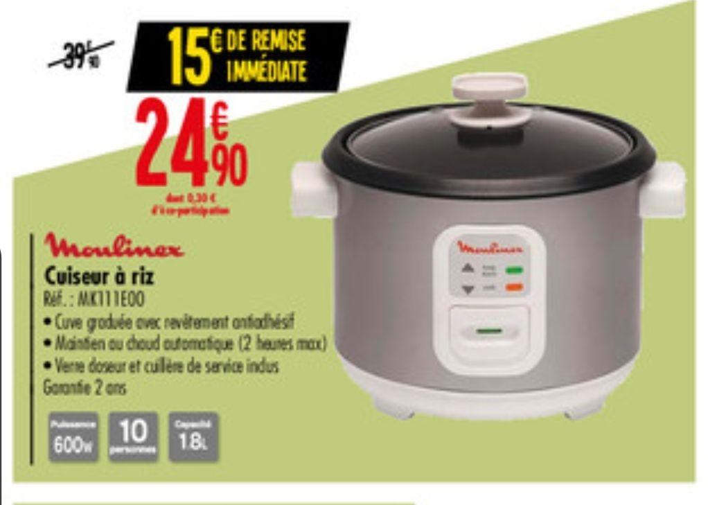 Cuiseur à riz Moulinex MK111E00 - 1.8L, 600 W, Argent/Blanc