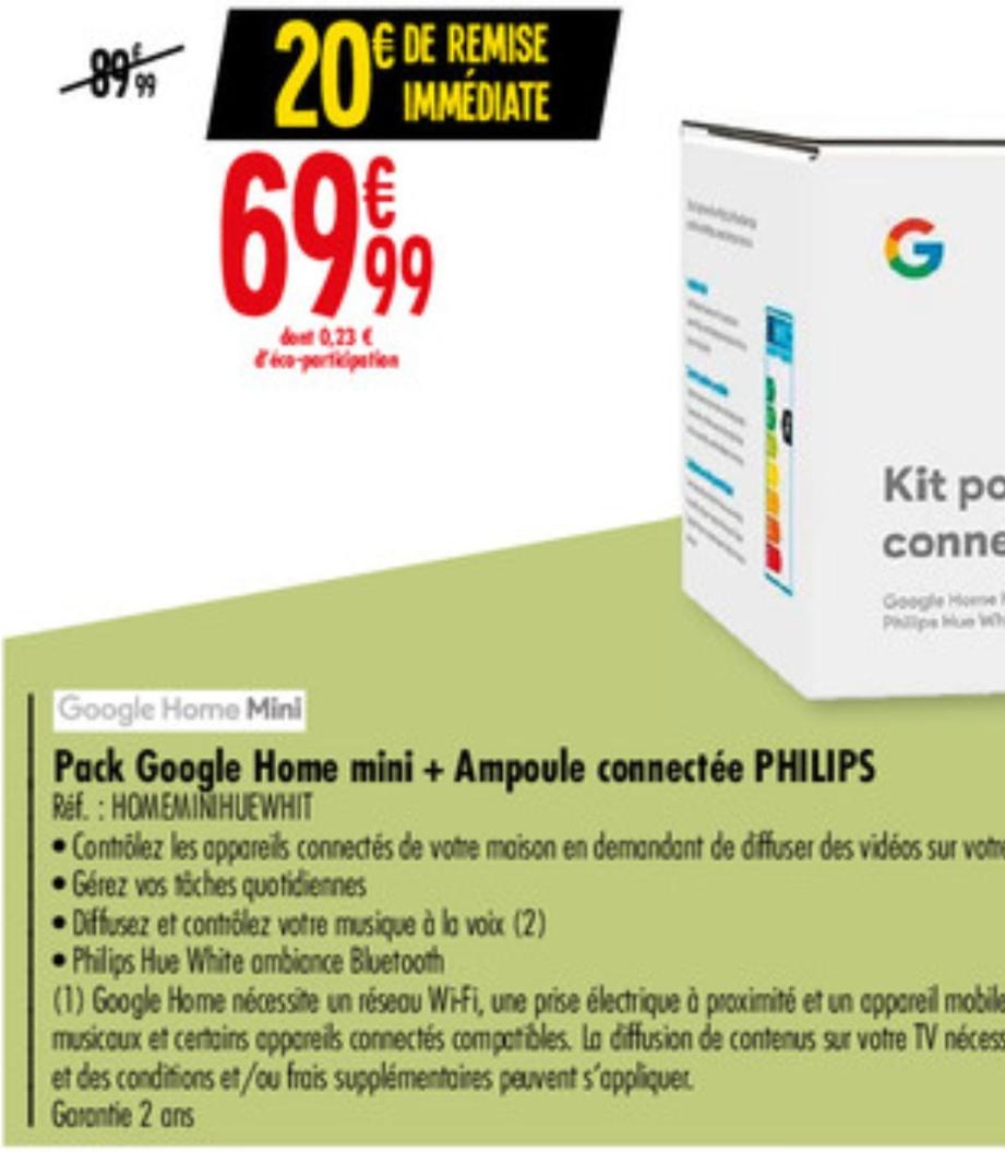 Assistant Google Home mini + Ampoule connectée Philips hue