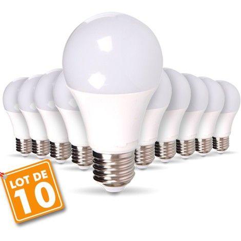 Lot de 10 Ampoules LED - E27, 9W