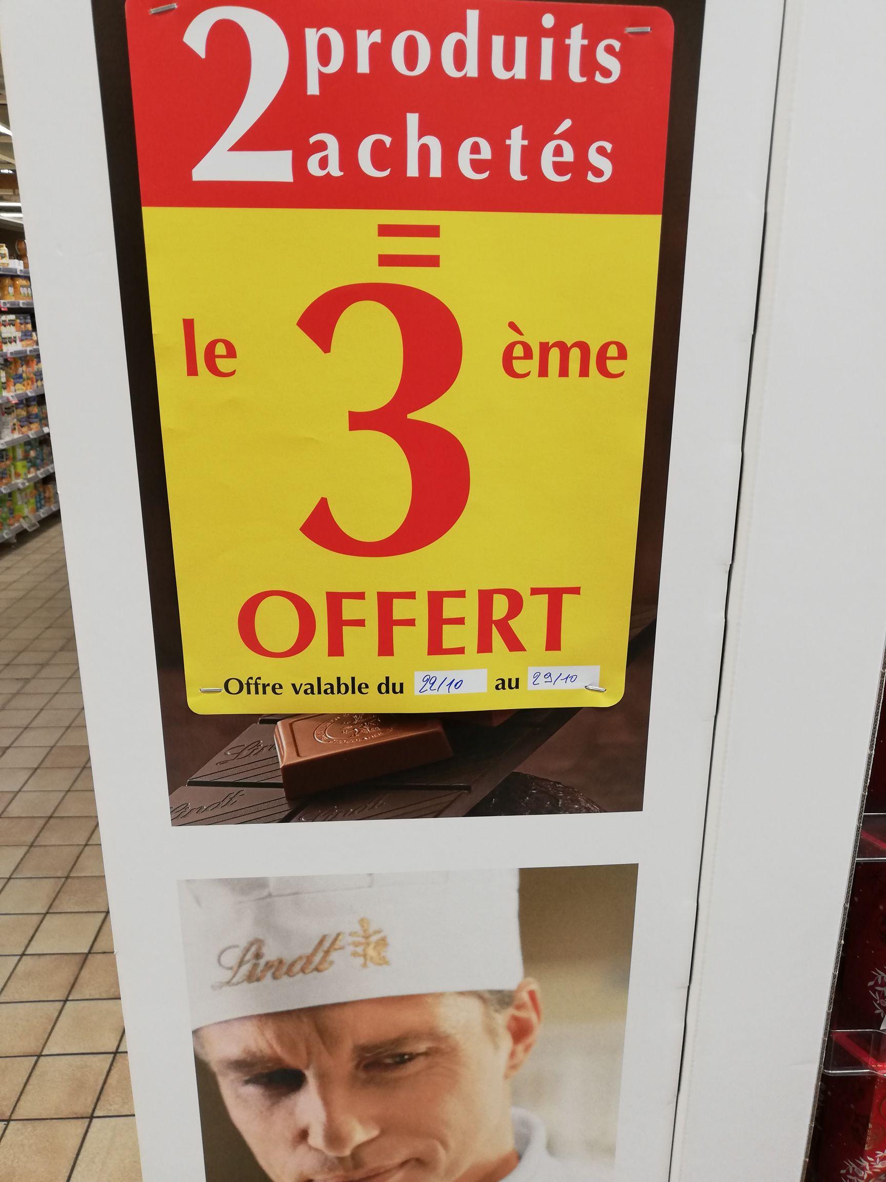 2 Produits Lindt achetés = Le troisième offert - Auchan la sapinière (54)
