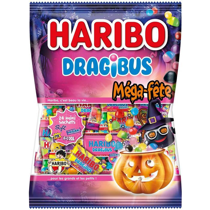 3 Paquets de 24 mini sachet de Haribo Dragibus Mega fête - 3x960g