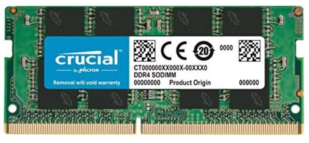 Barrette Mémoire DDR4 Crucial SODIMM 8Go - 2400Mhz, CL17 (+1,80€ en SuperPoints)