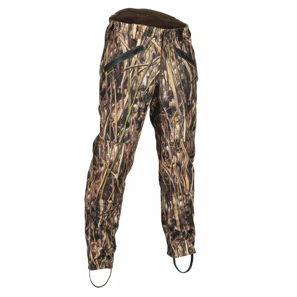Pantalon de chasse Solognac - Chaud et imperméable 500, Camouflage marais