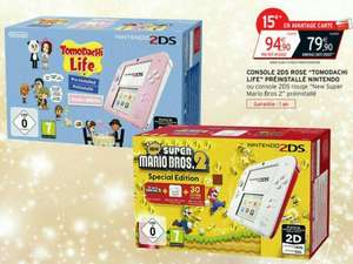 Console Nintendo 2DS Rouge avec le jeu new super marios bros 2, ou Rose avec le jeu tomodachi (via 15€ sur la carte)