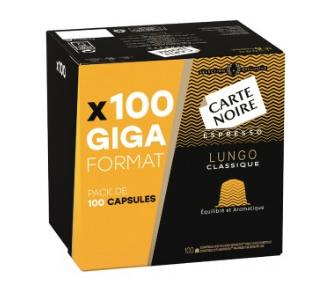 Paquet de 100 capsules de café Carte Noire - Lungo classique ou Espresso intense (Compatible Nespresso)
