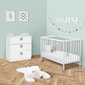 Chambre bébé Happy : Lit bois 60x120 cm + commode à langer
