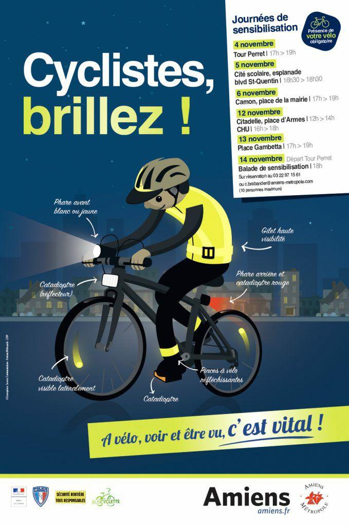Distribution Gratuite de Kit de Visibilité : éclairage avant et arrière, chasubles, catadioptres, brassards - Amiens (80)