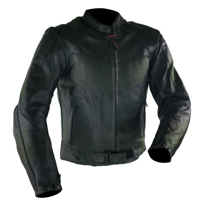 Veste Moto Rider Tec Classic - Taille XL, Cuir, Noir