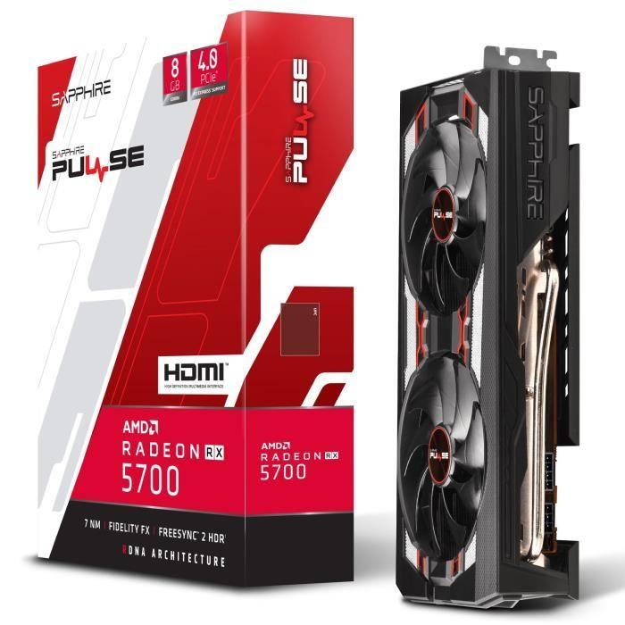 Carte graphique Sapphire Radeon RX 5700 Pulse - 8 Go [1 jeu (au choix) + 3 mois de XBOX Game Pass (PC) offerts]