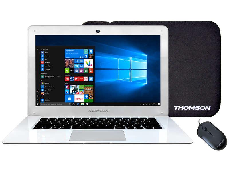 """PC Portable 14.1"""" Thomson - Atom x5-Z8350, 2 Go de Ram, 32 Go + Souris + Housse (Via ODR 30€)"""