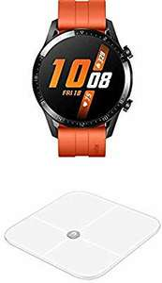 Montre connectée Huawei Watch GT 2 (46 mm, Kirin A1, Stockage 4 Go, GPS) + Pèse-Personne intelligent Huawei AH100