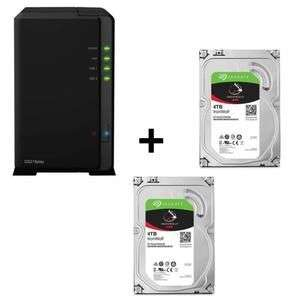 """Serveur NAS Synology DiskStation DS218play + 2 disques durs 3.5"""" Seagate IronWolf (2 x 4 To)"""