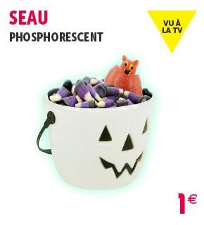 Seau à bonbons citrouille phosphorescent Halloween