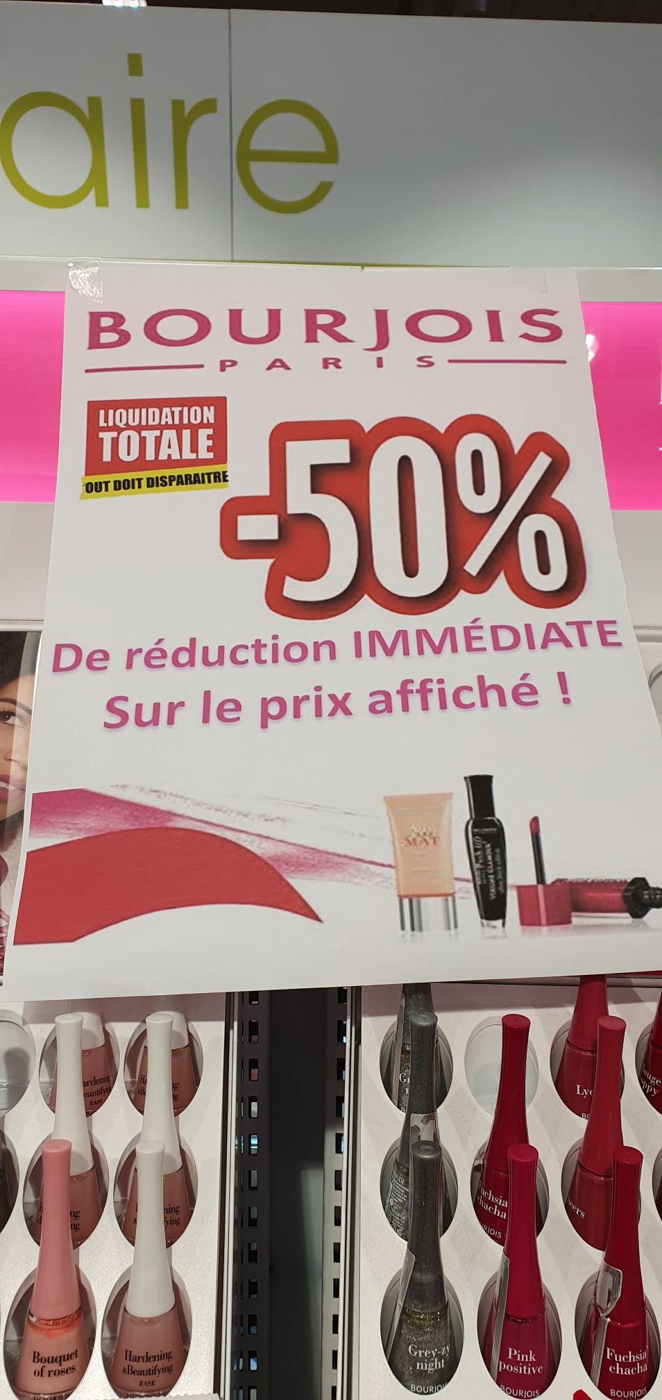 50% de réduction sur tout le maquillage Bourjois - Leclerc Golbey (88)