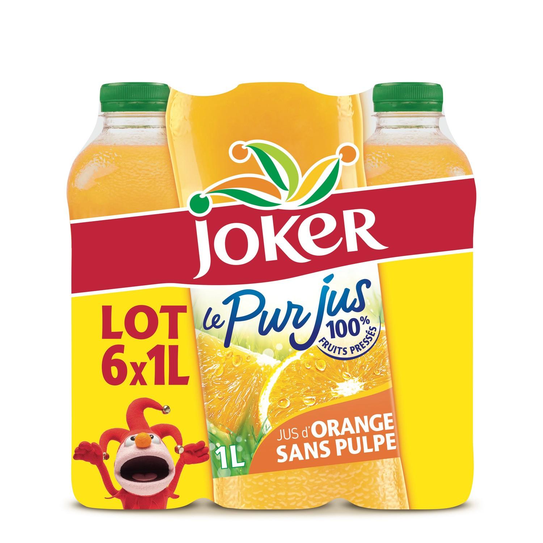 6 bouteilles de jus d'orange Joker sans pulpe - 1L
