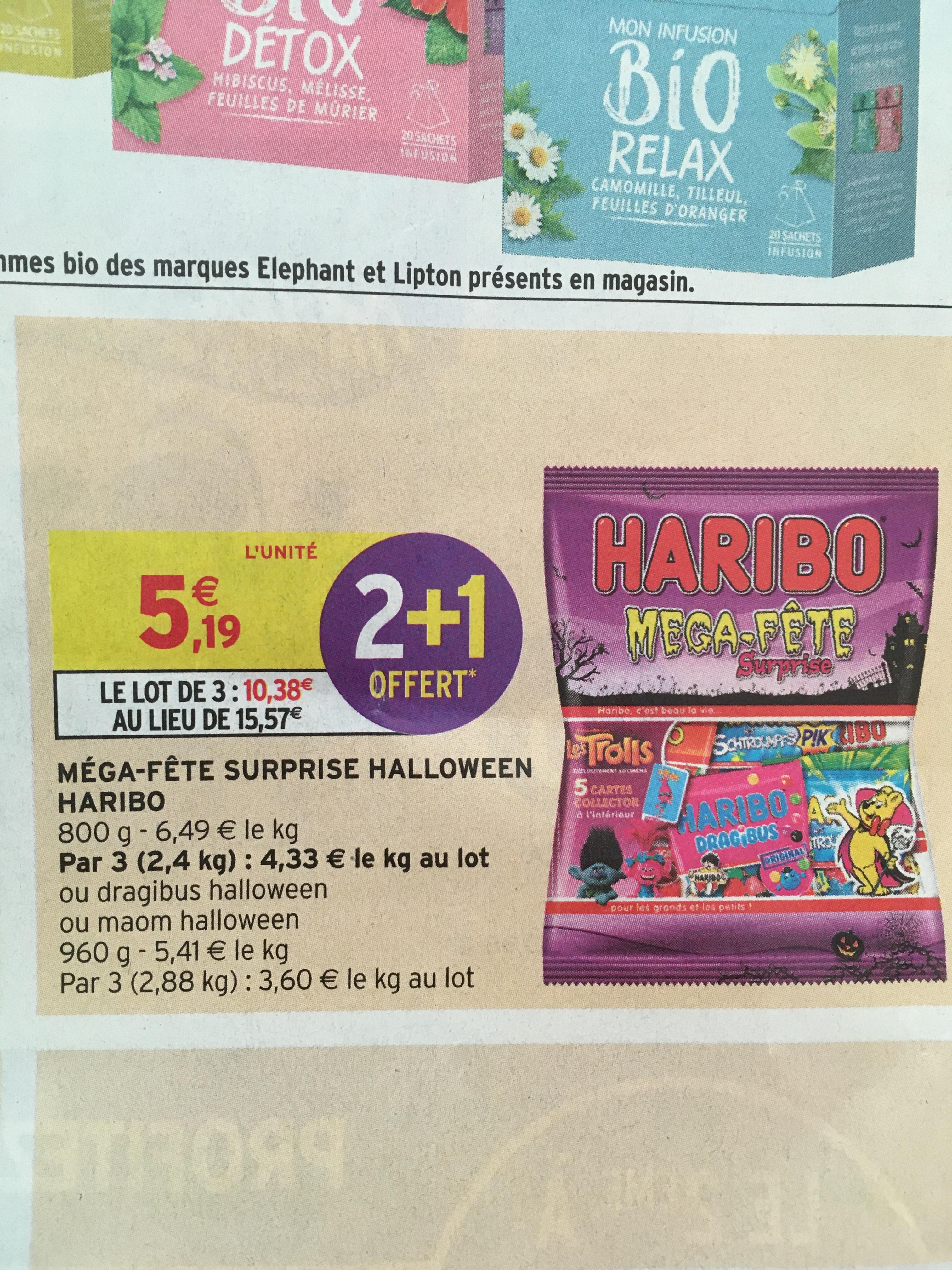 3 paquets de Bonbons Haribo Mega Fete surprise - 800