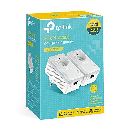 Kit de 2 CPL TP-Link TL-PA4015P - 600 Mbps avec 1 Port Ethernet et Prise Intégrée