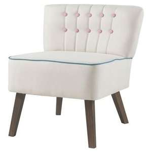 Fauteuil crapaud Stanford en tissu blanc boutons rose scandinave - 60 x  44 cm
