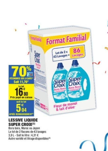 Lot de 2 bidons de Lessive liquide Super Croix (via 11.76€ sur la carte fidélité)