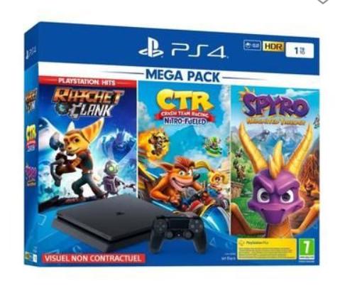 Pack Console PS4 + Crash Team Racing + Spyro Reignited Trilogy + Ratchet & Clank PlayStation Hits + 3 jeux au choix