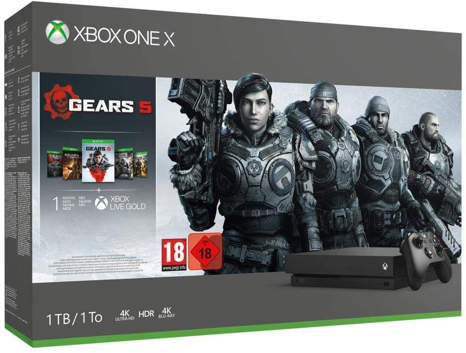 Console Microsoft Xbox One X (1 To) + Gears 5 Bundle + 14 jours Xbox Live + 1 mois d'abonnement Game Pass