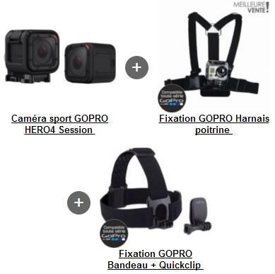 Camera sportive GoPro Hero4 Session + Harnais poitrine + Bandeau frontal