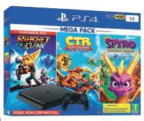 Pack Console PS4 Slim -1 To + Crash Team Racing + Spyro Trilogy  + Ratchet + 3 jeux au choix parmi une sélection (Frontaliers Luxembourg)