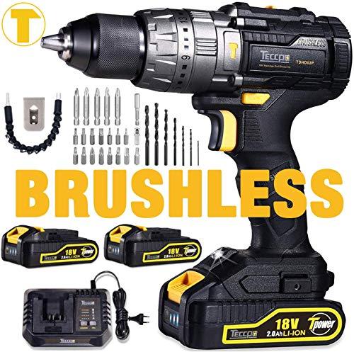 Perceuse sans Fil Brushless TECCPO + 2 Batteries 2.0Ah + accessoires - 18v, 60Nm, mandrin acier 13mm (Vendeur tiers)