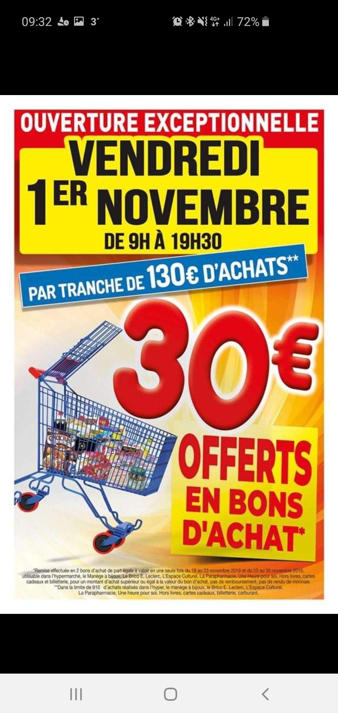 30€ offerts en 2 Bons d'achats par tranche de 130€ d'achats - Saint-Amand-les-Eaux (59)