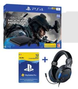 Pack Console PS4 Slim (1 To) + Call of Duty Modern Warfare + Casque Sony V3 + un an d'abonnement PS+