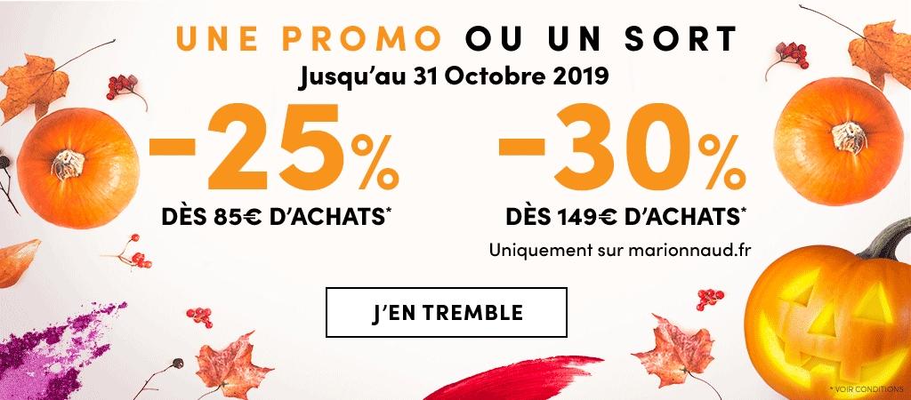 25% de réduction dès 85€ d'achats ou 30% dès 149€ d'achats (hors exceptions)