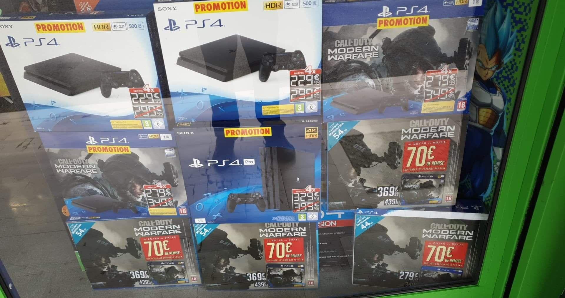 Console Sony PS4 Slim 500Go à 229€ et PS4 Pro à 329€ - Antibes (06)