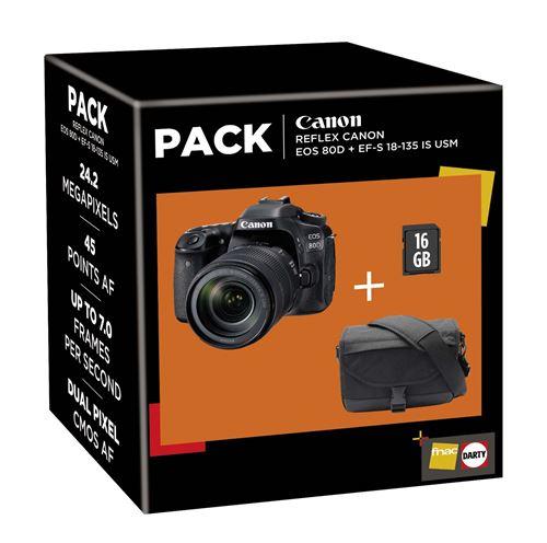 Pack Fnac Reflex Canon EOS 80D + Objectif EF-S 18-135 IS USM + Fourre-tout + Carte SD 16 Go