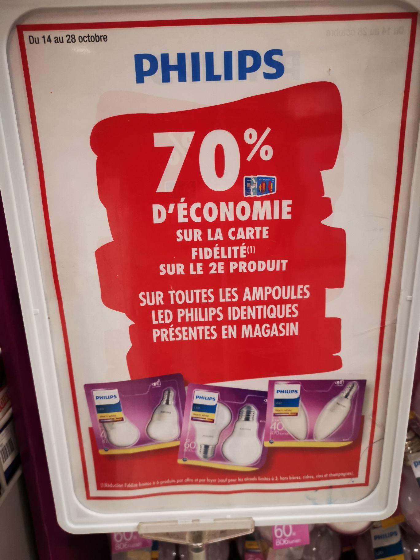 70% remboursés sur la carte fidélité sur les Ampoules Philips LED - Chartrettes (77)