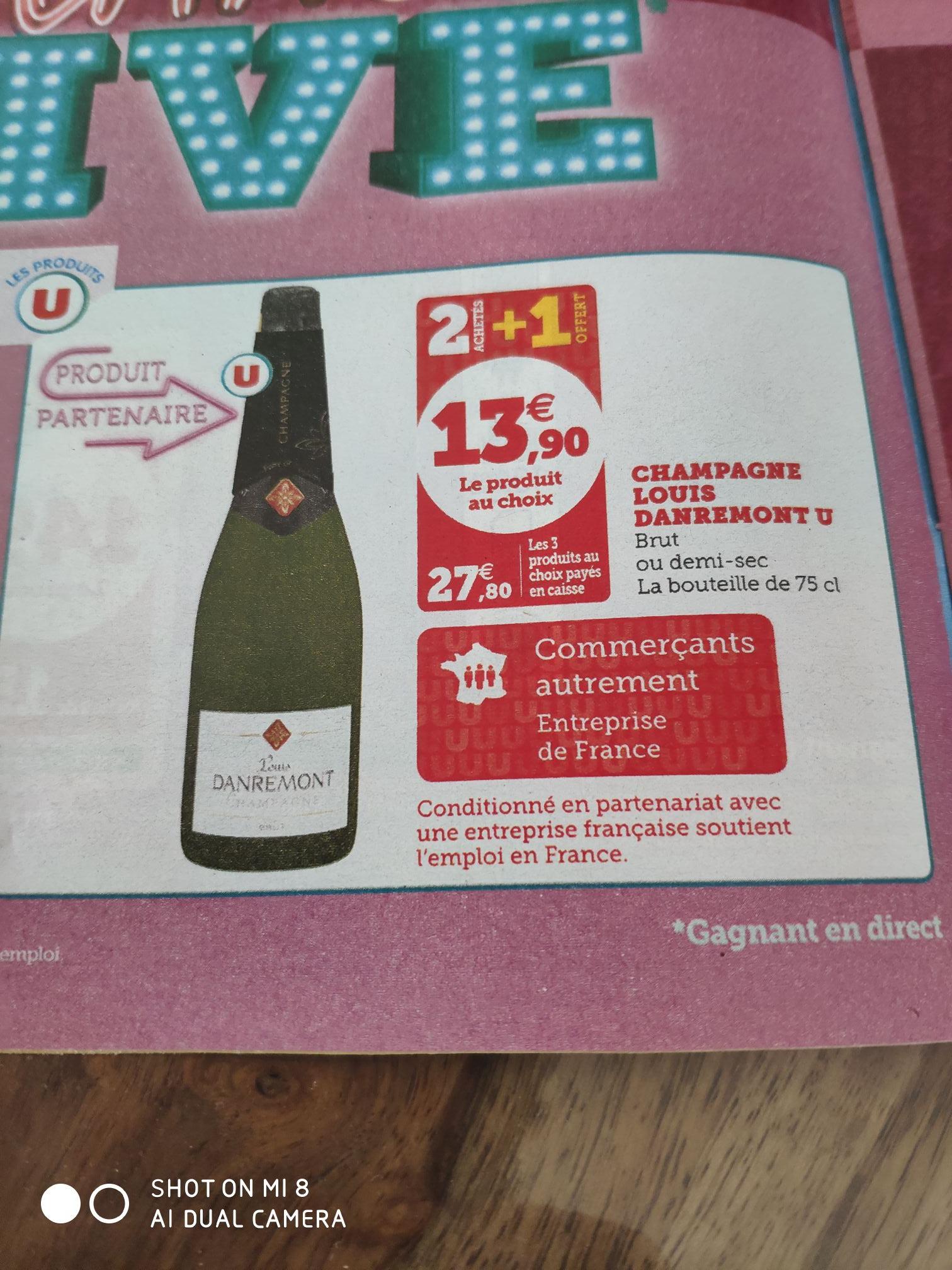 Lot de 3 Bouteilles de Champagne Louis Danremont U - Brut ou Demi-Sec, 3x 75 cl