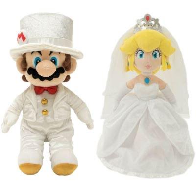 Peluches Mario ou Peach Mariés (40cm)