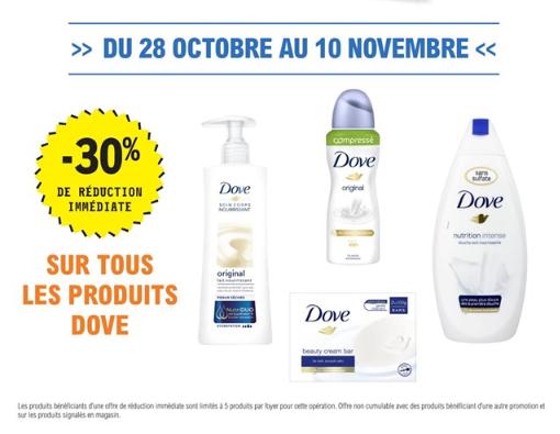 30% de remise immédiate sur tous les produits Dove