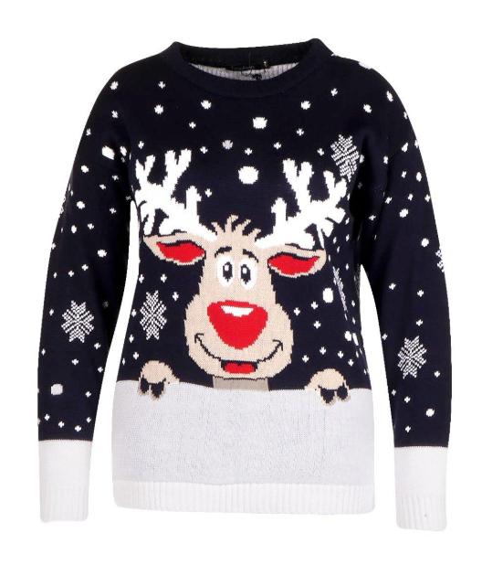 Pull de Noël rennes et flocons de neige
