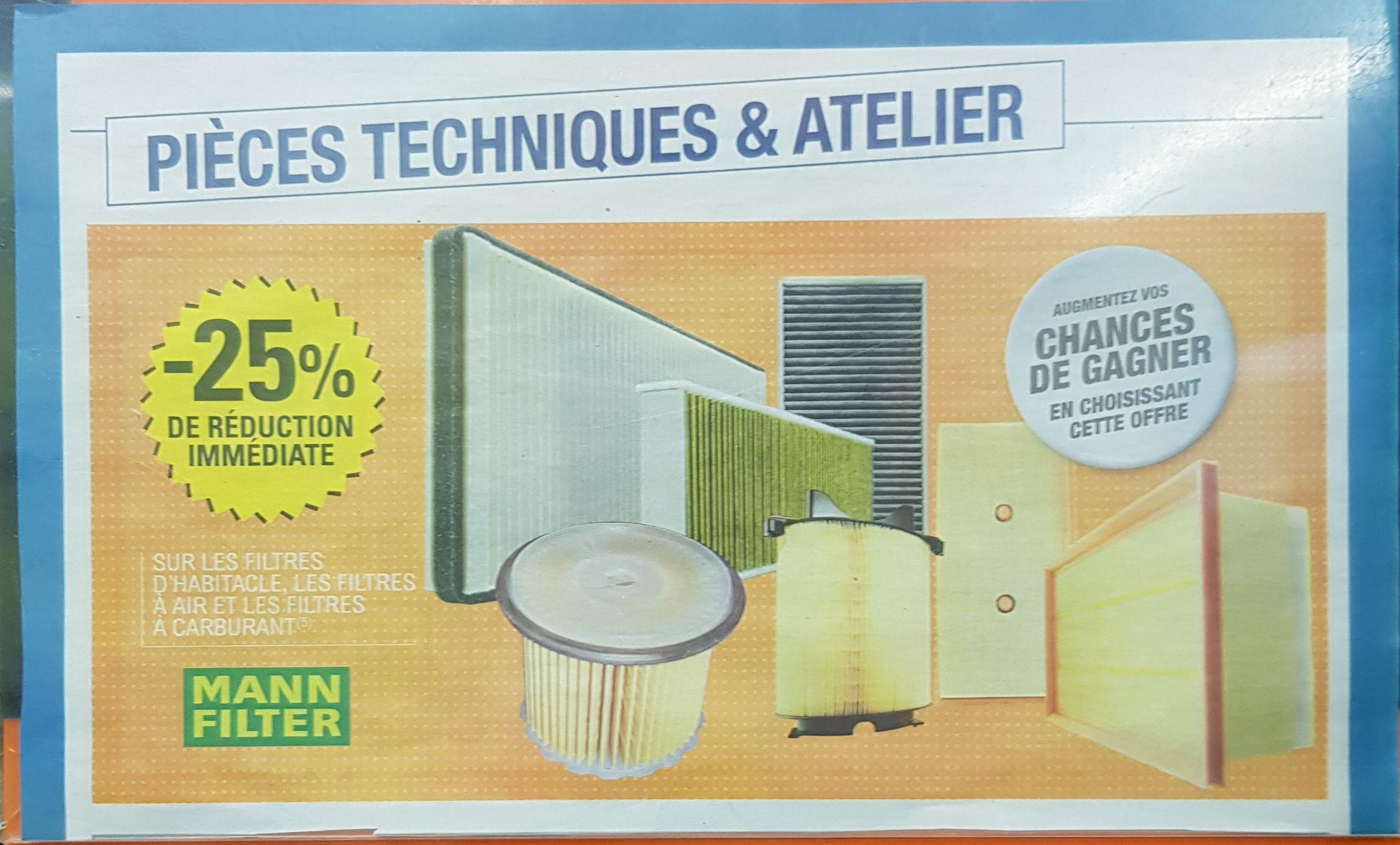 25% de réduction immédiate sur les filtres Mann Filter habitacle, air et carburant - Montargis (45)