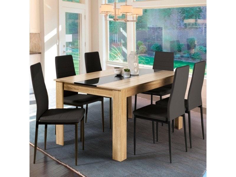 Table à manger Georgia - 6 personnes imitation hêtre et noire, 140cm (vendeur tiers)