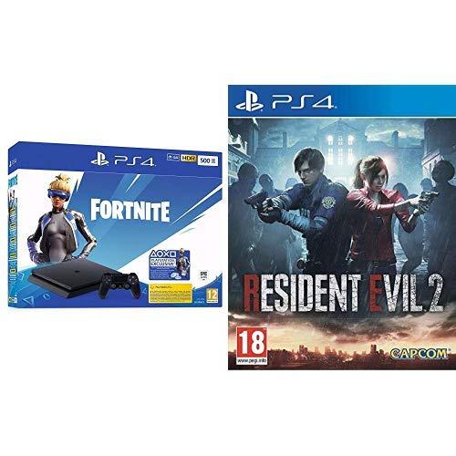 Pack console Sony PS4 Slim (500 Go) + bundle Fortnite (dématérialisé) + Resident Evil 2
