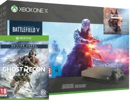 Console Xbox One X - 1To Gold Rush Battlefield V Edition Deluxe + Battlefield 1943 + Ghost Recon BreakPoint Edition Aurora ou NBA 2K20