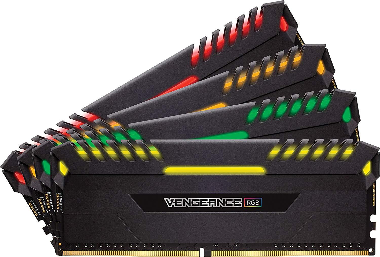 Kit mémoire RAM Corsair Vengeance RGB - 32 Go (4x8 Go), DDR4, 3200Mhz, C16 XMP 2.0