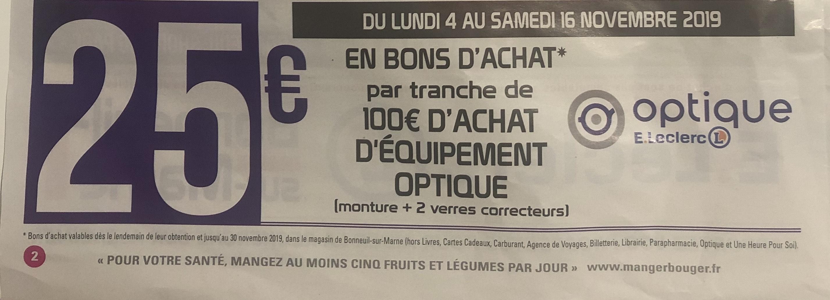 25€ remboursés en bons d'achat sur l'optique - Bonneuil-sur-Marne (94)