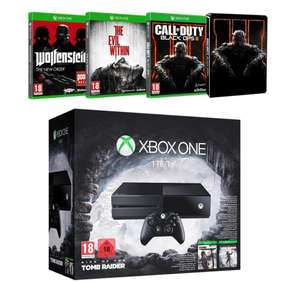 Pack Console Xbox One 1 To + Rise of the Tomb Raider + Tomb Raider : Definitive Edition + Call of Duty : Black Ops III (avec Steelbook) + The Evil Within + Wolfenstein : The New Order